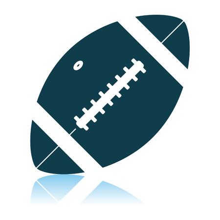 American Football Ball Icon. Shadow Reflection Design. Vector Illustration.