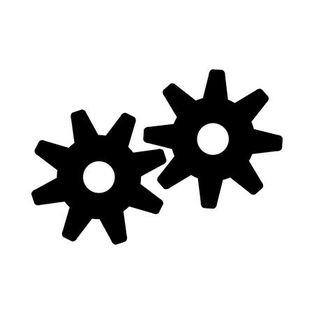 Gears Icon. Black Stencil Design. Vector Illustration.