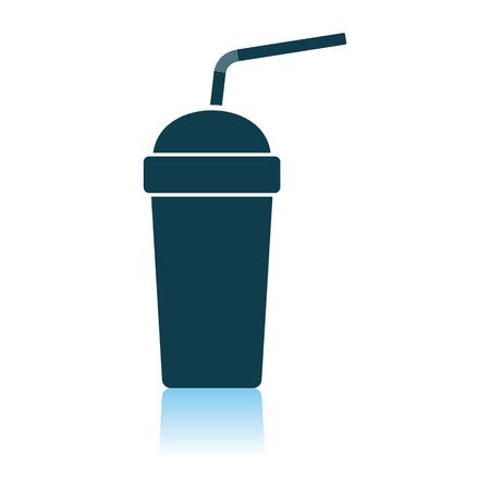 Vaso de refresco desechable e icono de palo flexible. Diseño de reflexión de sombras. Ilustración de vector.