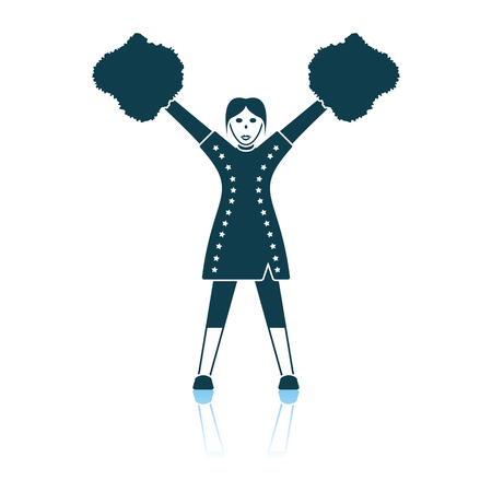 American Football Cheerleader Girl Icon. Shadow Reflection Design. Vector Illustration.