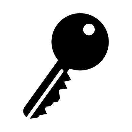 Key Icon. Black Stencil Design. Vector Illustration. Çizim