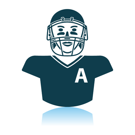 American Football Player Icon. Shadow Reflection Design. Vector Illustration.