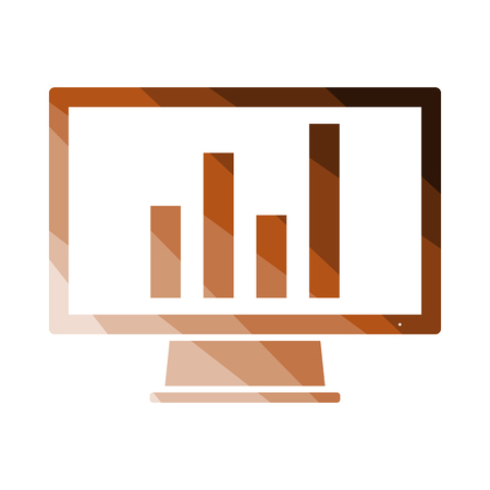 Monitor With Analytics Diagram Icon. Flat Color Ladder Design. Vector Illustration. 向量圖像