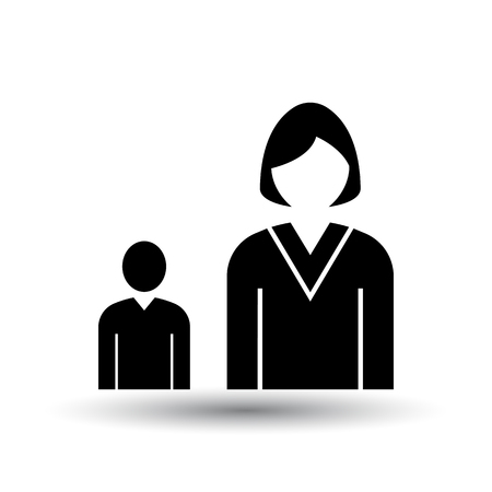 Lady Boss With Subordinate Icon. Black on White Background With Shadow. Vector Illustration.