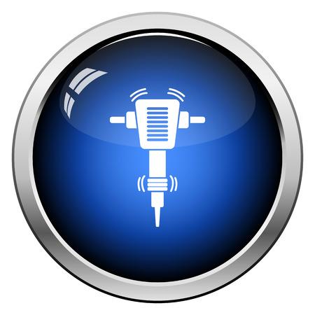 Icon Of Construction Jackhammer. Glossy Button Design. Vector Illustration.