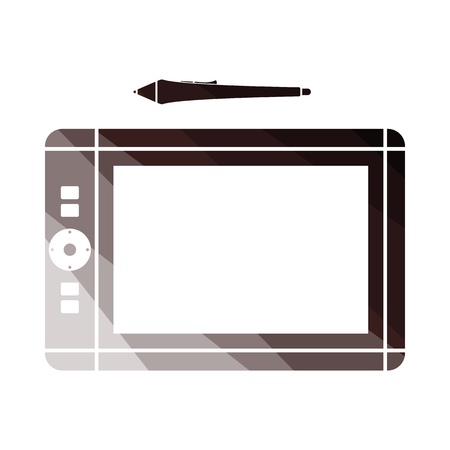 Graphic Tablet Icon. Flat Color Ladder Design. Vector Illustration.