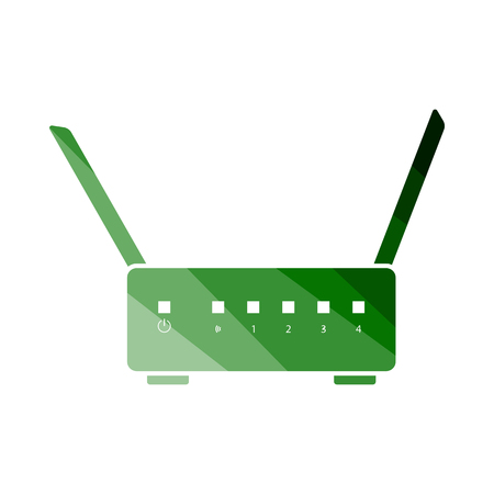 WiFi Router Icon. Flat Color Ladder Design. Vector Illustration.