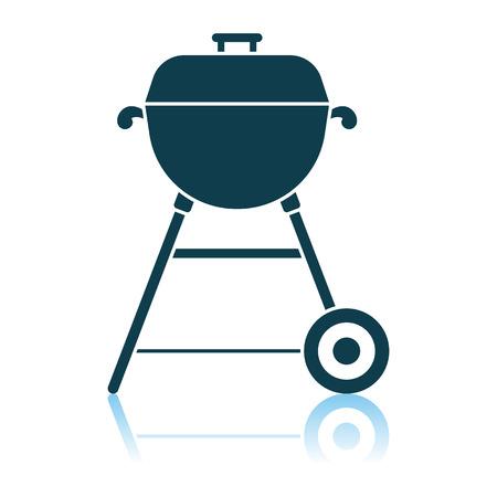 Barbecue Icon. Shadow Reflection Design. Vector Illustration.
