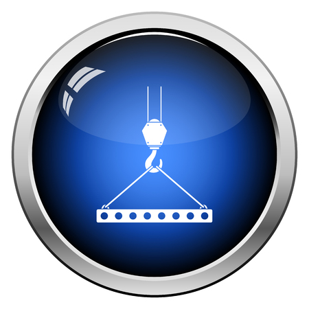 Icon Of Slab Hanged On Crane Hook By Rope Slings. Glossy Button Design. Vector Illustration. Иллюстрация