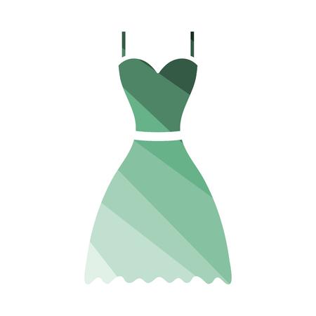 Dress Icon. Flat Color Ladder Design. Vector Illustration.