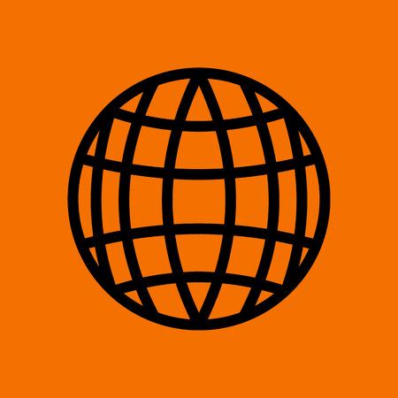Globe Icon. Black on Orange Background. Vector Illustration. Stockfoto - 122517992