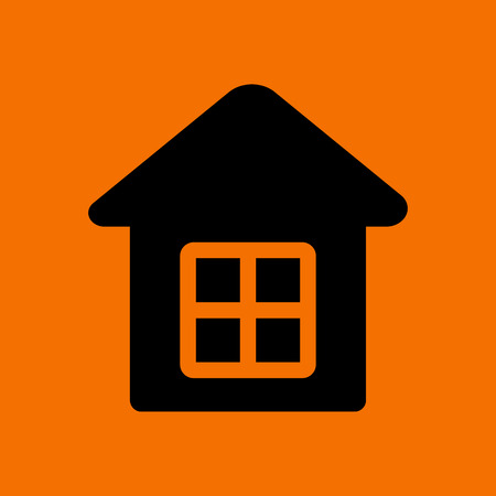 Home Icon. Black on Orange Background. Vector Illustration.