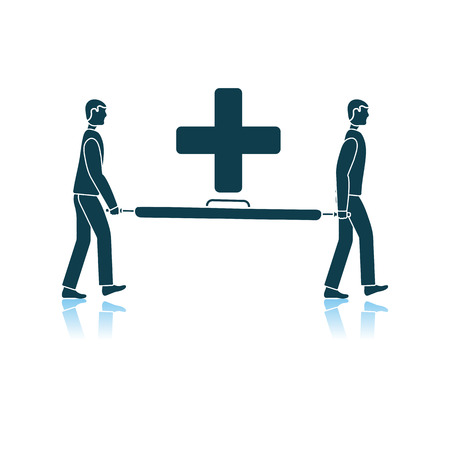 Soccer Medical Staff Carrying Stretcher Icon. Shadow Reflection Design. Vector Illustration.