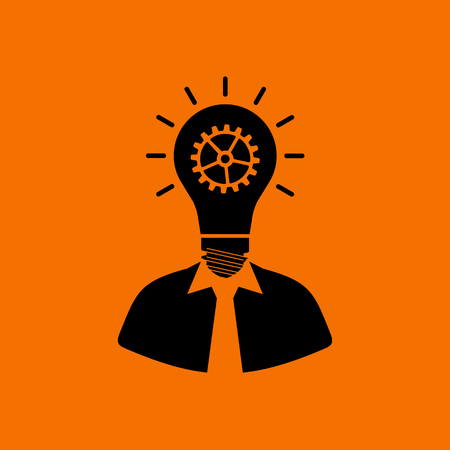 Innovation Icon. Black on Orange Background. Vector Illustration.