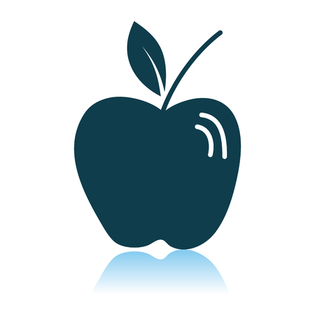 Apple Icon On Gray Background. Shadow Reflection Design. Vector Illustration.
