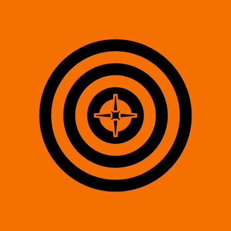 Target With Dart In Center Icon. Black on Orange Background. Vector Illustration.