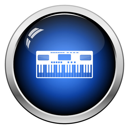 Music Synthesizer Icon. Glossy Button Design. Vector Illustration.