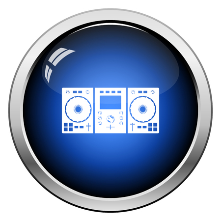 DJ Icon. Glossy Button Design. Vector Illustration.