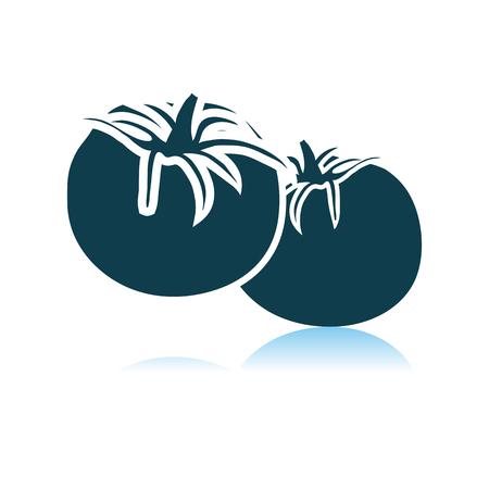 Tomatos Icon On Gray Background. Shadow Reflection Design. Vector Illustration.