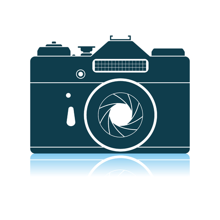 Icon Of Retro Film Photo Camera. Shadow Reflection Design. Vector Illustration.
