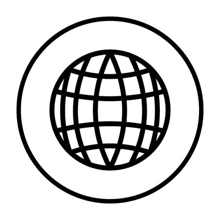 Globe Icon. Thin Circle Stencil Design. Vector Illustration. Stockfoto - 122526478