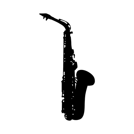 Saxophone Wind Musical Instrument Silhouette.  Vector Illustration.