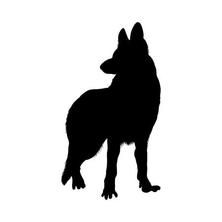 German Shepherd Dog Silhouette. Smooth Vector Illustration.