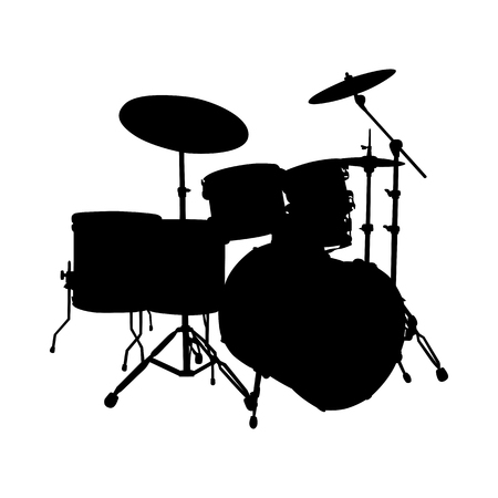 Drum Set Musical Instrument Silhouette. Vector Illustration.