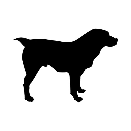 Central Asian Sheep Dog Silhouette. Smooth Vector Illustration.