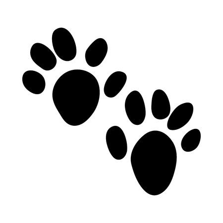 Impronta di lontra. Disegno della siluetta nera. Illustrazione di vettore.