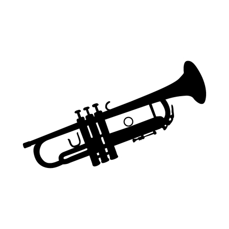 Trumpet Wind Musical Instrument Silhouette. Smooth and Clear. Vector Ilustration.  Çizim