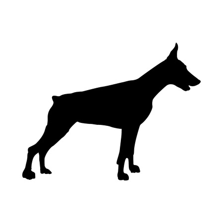 Doberman Dog Silhouette. Smooth Vector Illustration.