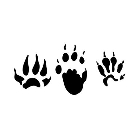 Fitchew Footprint. Black Silhouette Design. Vector Illustration. Ilustracja