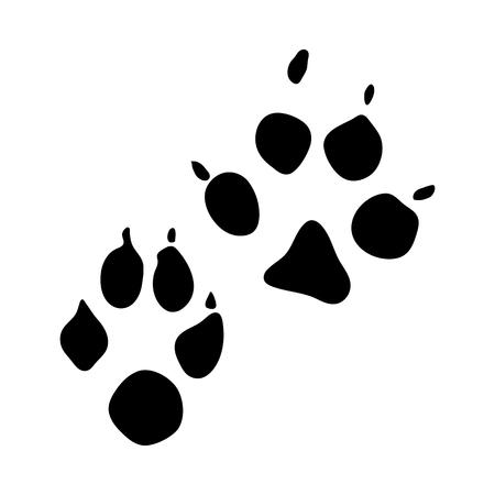 Impronta di cane procione. Disegno della siluetta nera. Illustrazione di vettore.