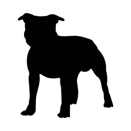 Staffordshire Terrier Dog Silhouette. Smooth Vector Illustration. Иллюстрация