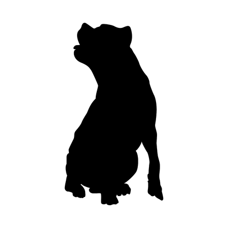 Pit Bull Terrier Dog Silhouette. Smooth Vector Illustration.