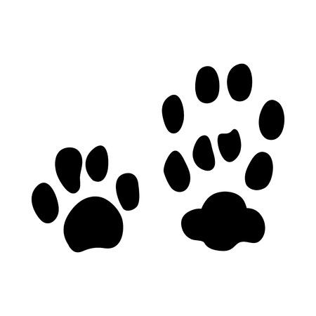 Impronta di gatto selvatico europeo. Disegno della siluetta nera. Illustrazione di vettore. Vettoriali