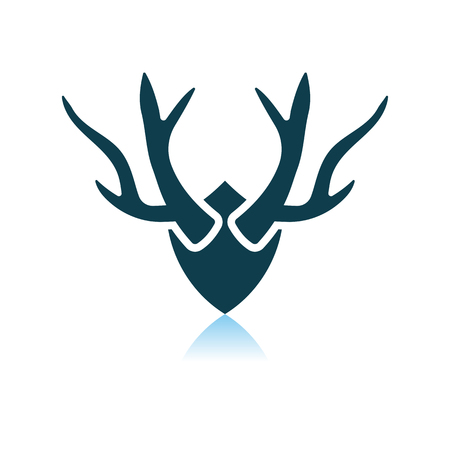 Deer's Antlers Icon. Shadow Reflection Design. Vector Illustration.