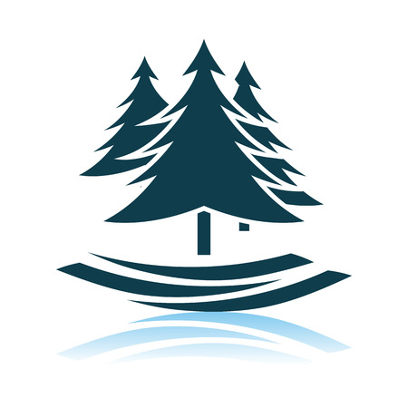 Fir Forest Icon. Shadow Reflection Design. Vector Illustration.