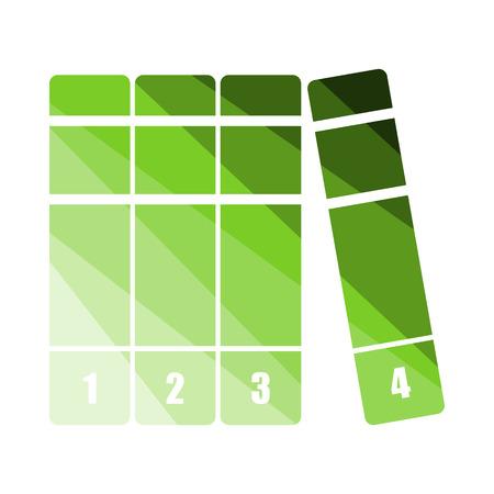 Icono de volúmenes de libros. Diseño de escalera de color plano. Ilustración de vector. Ilustración de vector