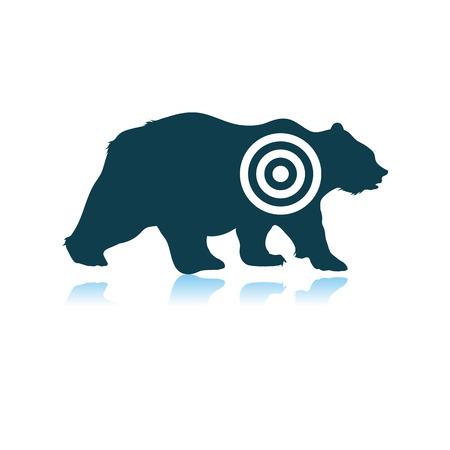 Bear Silhouette With Target Icon. Shadow Reflection Design. Vector Illustration.