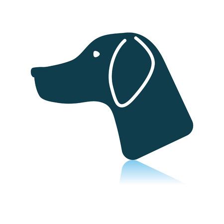 Hunting Dog Had. Shadow Reflection Design. Vector Illustration.  イラスト・ベクター素材