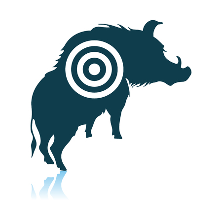 Boar Silhouette With Target Icon. Shadow Reflection Design. Vector Illustration.