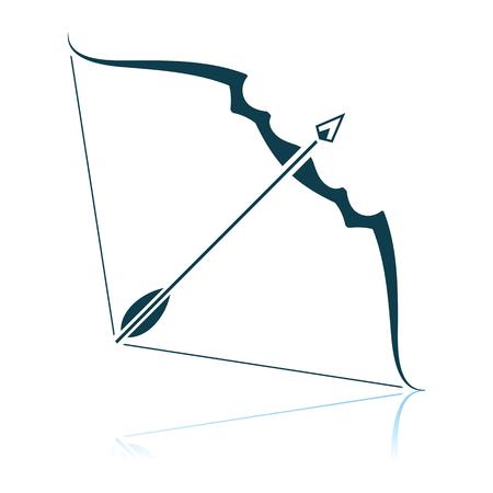 Icono de arco y flecha. Diseño de reflexión de sombras. Ilustración de vector.