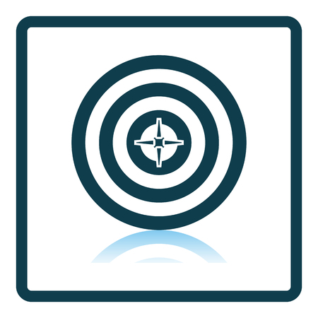 Target With Dart In Center Icon. Square Shadow Reflection Design. Vector Illustration.