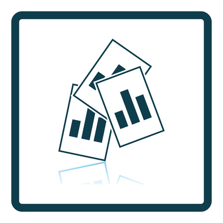 Analytics Sheets Icon. Square Shadow Reflection Design. Vector Illustration. Illustration