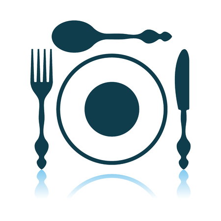Silverware And Plate Icon. Shadow Reflection Design. Vector Illustration.