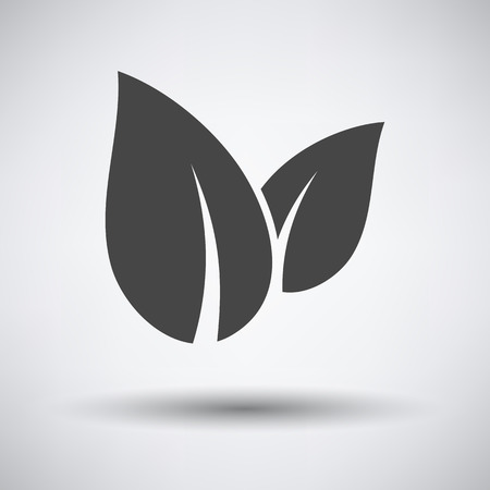 Spa Leaves icon on gray background with round shadow. Vector illustration. Ilustracja