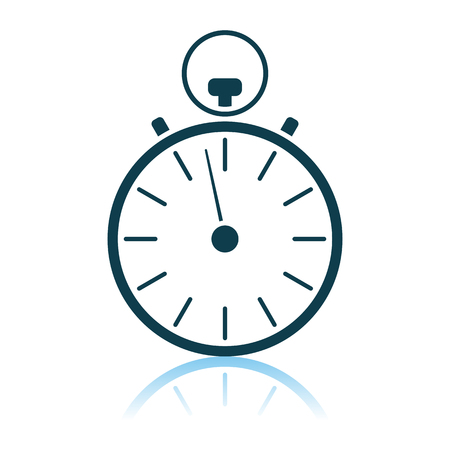 Stopwatch Icon. Shadow Reflection Design. Vector Illustration.