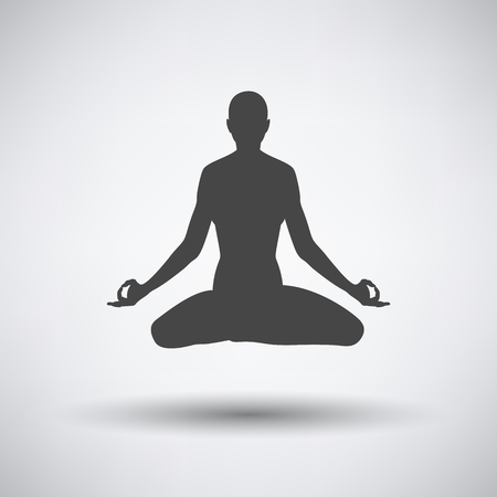 Lotus pose icon on gray background with round shadow. Vector illustration.